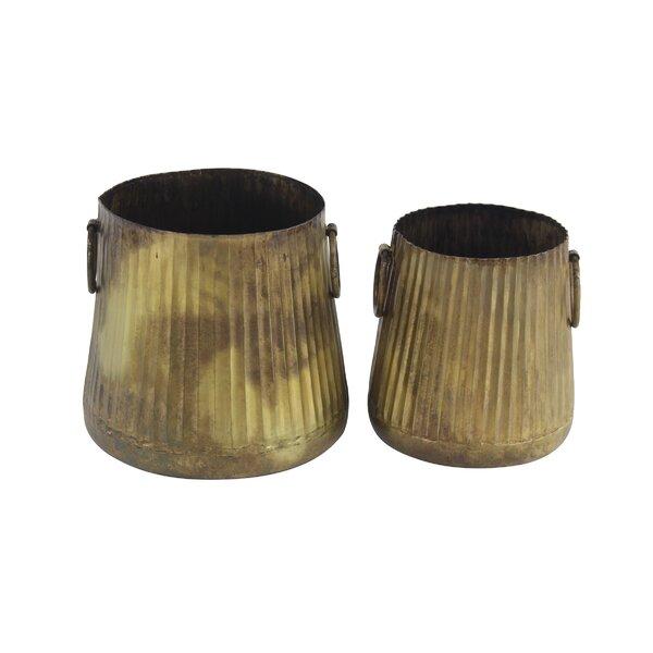 Westhampton Rustic 2-Piece Metal Pot Planter Set by Union Rustic