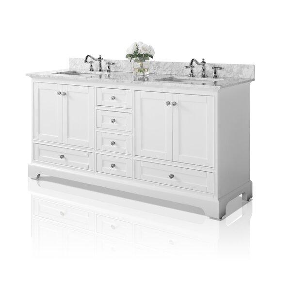 Audrey 72 Bath Vanity Set with Italian Carrara White Marble Vanity Top