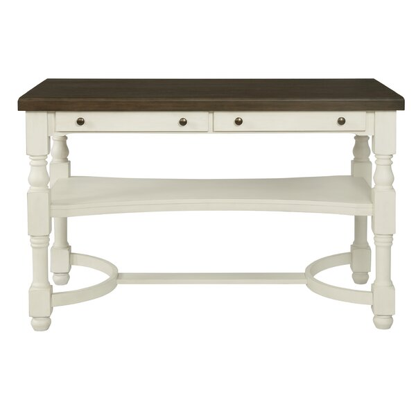 Scroggins 2-Drawer Counter Height Table Antique Cream And Espresso by Alcott Hill Alcott Hill