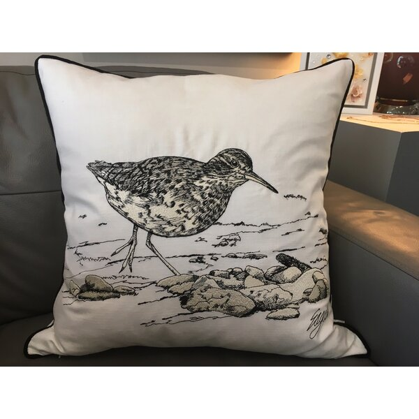 Chason Sandpiper Embroidered Cotton Throw Pillow by Rosecliff Heights