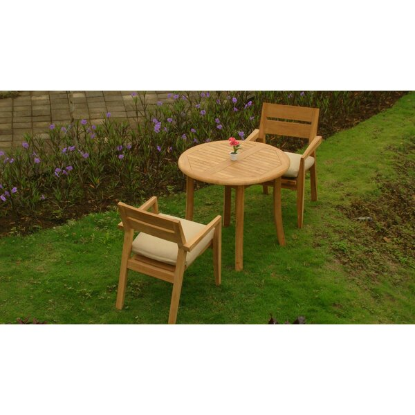 Donner Luxurious 3 Piece Teak Bistro Set by Rosecliff Heights