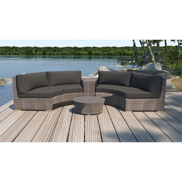 Holcomb 4 Piece Rattan Sectional Seating Group with Sunbrella Cushions by Rosecliff Heights