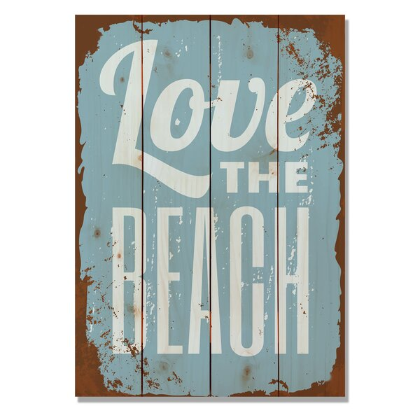 4 Piece Wile E. Wood Love the Beach Textual Art Set by Gizaun Art