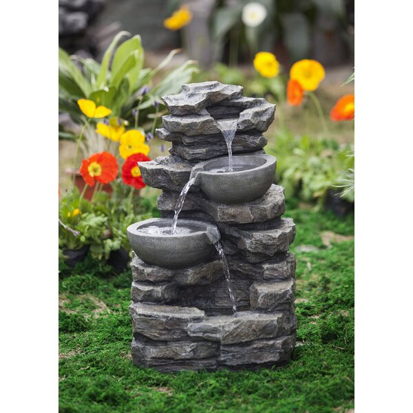 Resin/Fiberglass  Rock and Pot Waterfall Water Fountain by Jeco Inc.