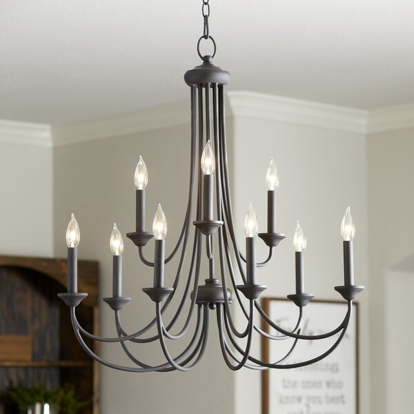 Polito 9 - Light Candle Style Tiered Chandelier by Alcott Hill Alcott Hill