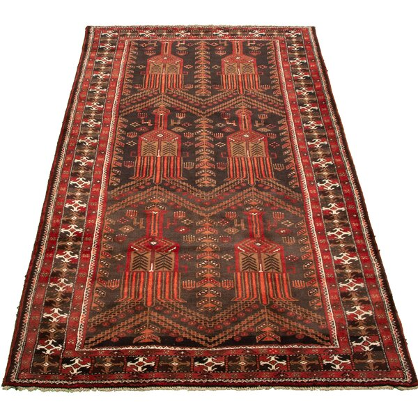 Aed Hand Knotted Wool Red/Black Rug