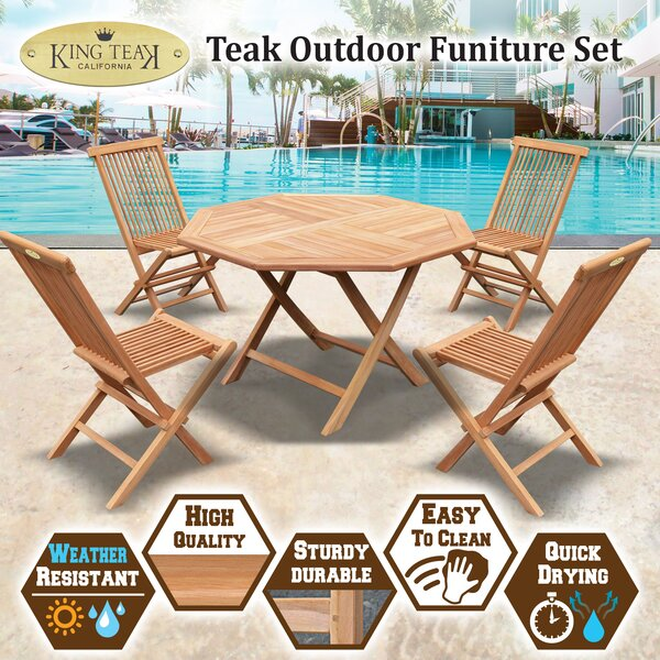 Elise 5 Piece Outdoor Teak Dining Set by Millwood Pines