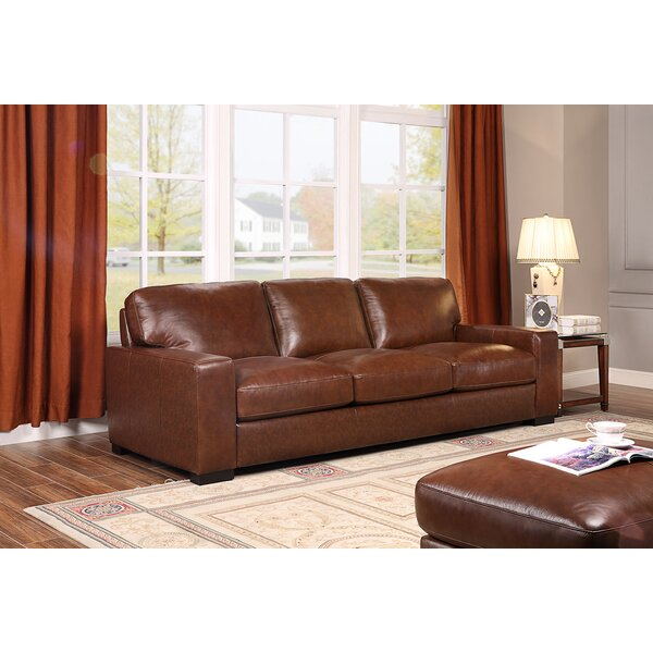 Valuable Quality Armstrong Leather Sofa by Charlton Home by Charlton Home