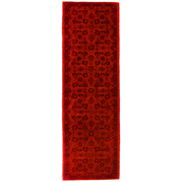 One-of-a-Kind Norsworthy Over Dyed Reform Hand-Knotted Wool Red/Black Area Rug by Bloomsbury Market