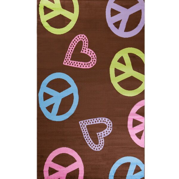 Ball Ground Alisa Peace and Polka Hearts Kids Rug by Zoomie Kids