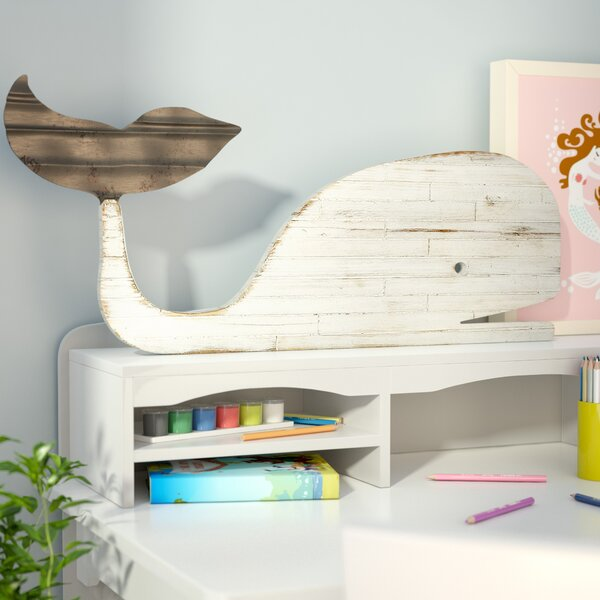 Carrcroft Distressed Slat Whale Silhouette 3D Wall Decor by Beachcrest Home