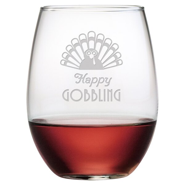 Happy Gobbling Stemless Wine Glass (Set of 4) by Susquehanna Glass
