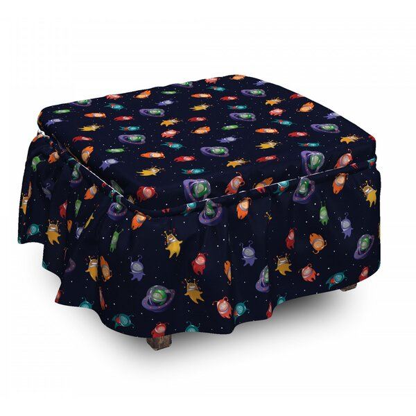 Space Aliens In Love Happy 2 Piece Box Cushion Ottoman Slipcover Set By East Urban Home