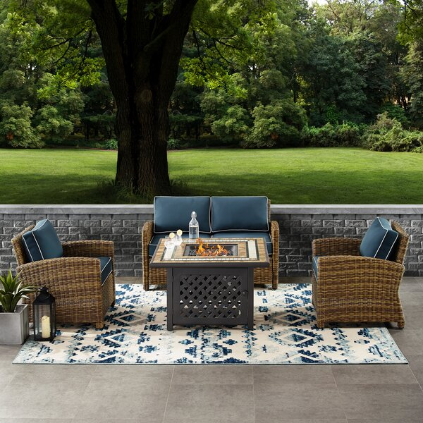Lawson 4 Piece Outdoor Wicker Seating Set With Navy Cushions - Loveseat, Two Arm Chairs Fire Table by Birch Lane™ Heritage