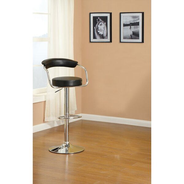Short Gas Lift And Round Seat Adjustable Height Bar Stool (Set of 2) by Orren Ellis