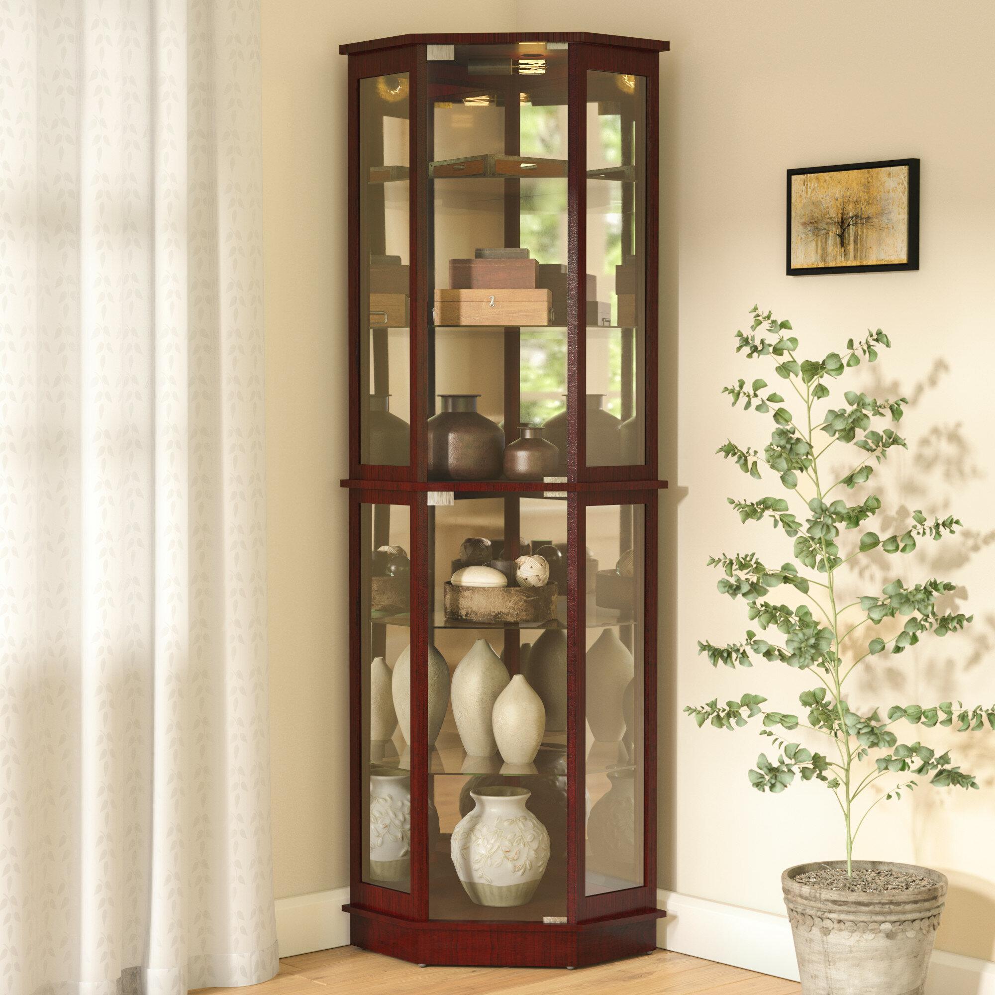 Andover Mills Biali Lighted Corner Curio Cabinet U0026 Reviews | Wayfair
