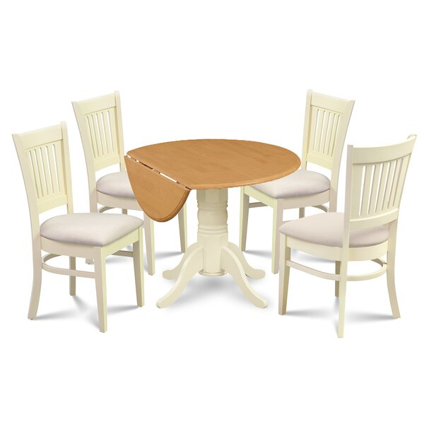 Keyshawn Transitional 5 Piece Drop Leaf Dining Set by Highland Dunes