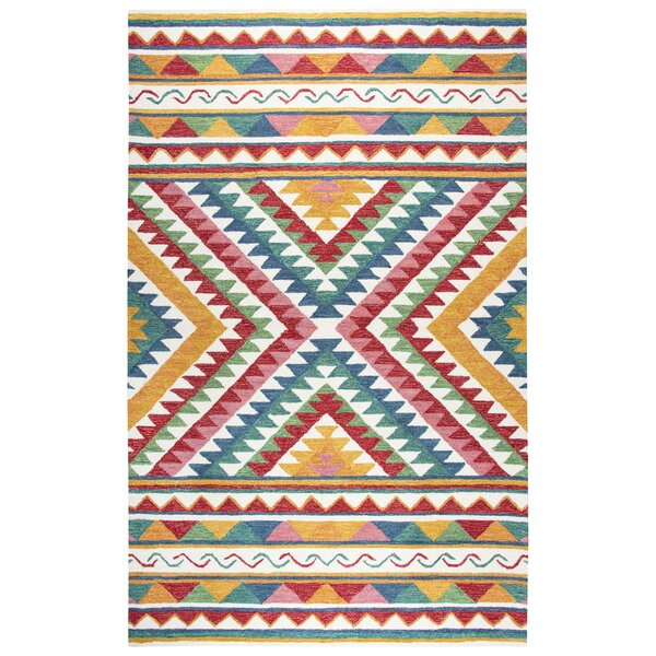 Duron Hand-Tufted Wool Red/Blue Area Rug by Bungalow Rose