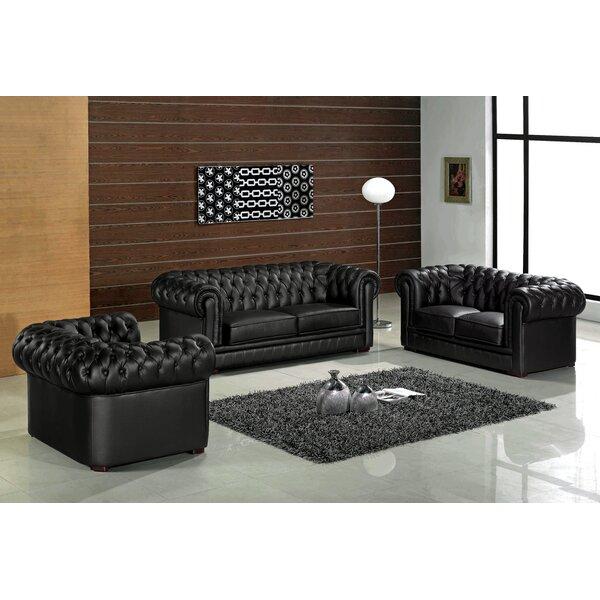 Botkin Leather 3 Piece Living Room Set by Orren Ellis