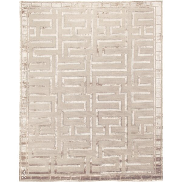 Thompson Hand-Knotted Wool Beige Area Rug by Exquisite Rugs