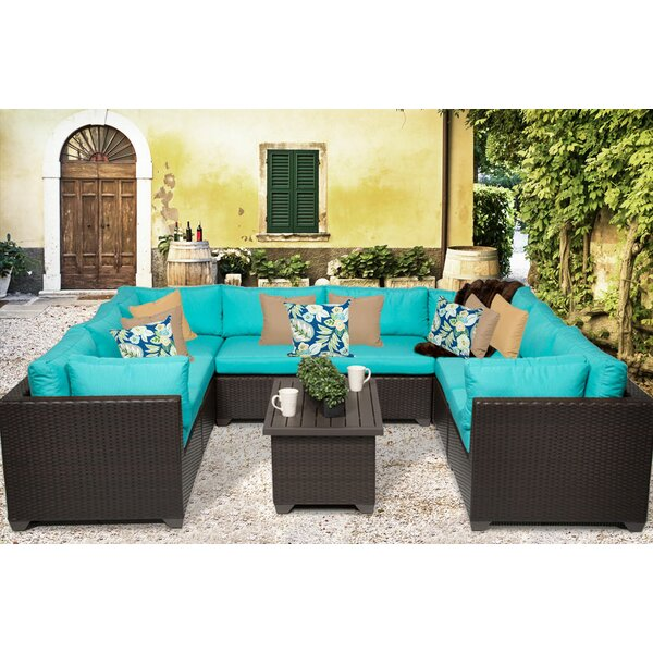 Rushden 9 Piece Rattan Sectional Seating Group with Cushions by Sol 72 Outdoor