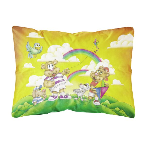 Salvato Bears Flying a Kite Fabric Indoor/Outdoor Throw Pillow by Winston Porter