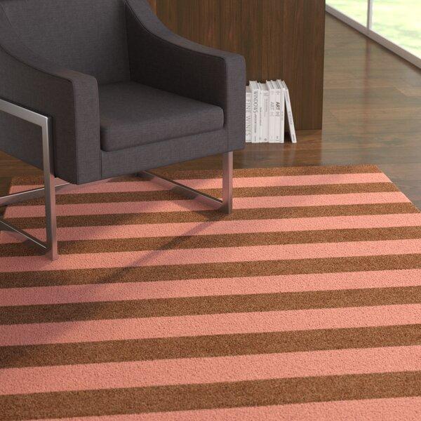 Kunavich-Siligato Stripe Hand-Tufted Wool Brown/Peach Area Rug by Latitude Run