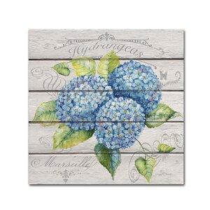'Blue Hydrangeas' Graphic Art Print on Wrapped Canvas by Trademark Fine Art