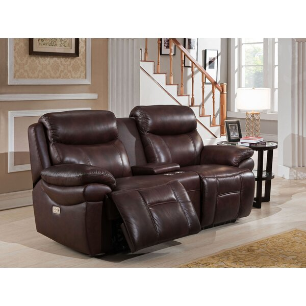 Discount Timor Leather Reclining Loveseat