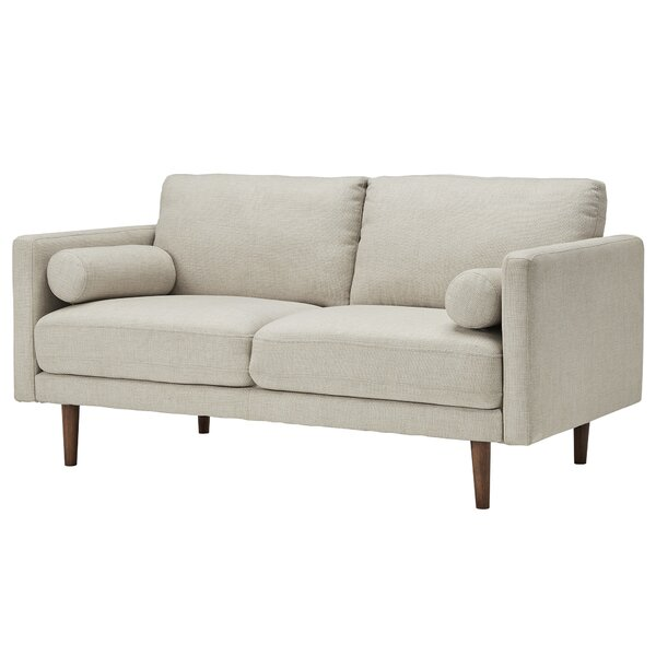 Desalvo Oatmeal Tweed Fabric Tapered Leg Standard Loveseat by Mercury Row