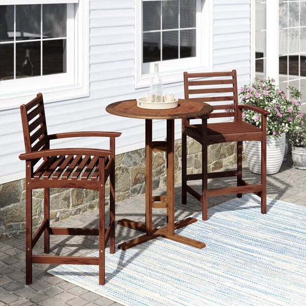 Maisie 3 Piece Bar Height Dining Set by Beachcrest Home