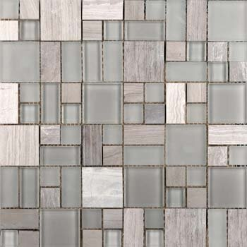 Lucente 13 x 13 Glass Stone Blend Pattern Mosaic Tile in Certosa by Emser Tile