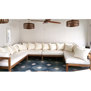 Manhattan 5 Piece Teak Sunbrella Sectional Set with Cushions By Trijaya Living