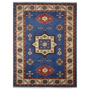 Corrin Hand-Knotted Wool/Silk Aqua/White Area Rug by Bloomsbury Market