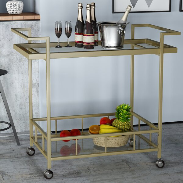 Emrich Industrial Iron/Glass Bar Cart by Orren Ellis Orren Ellis