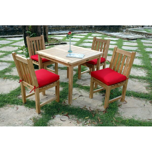 Farnam 5 Piece Teak Dining Set with Cushions by Rosecliff Heights