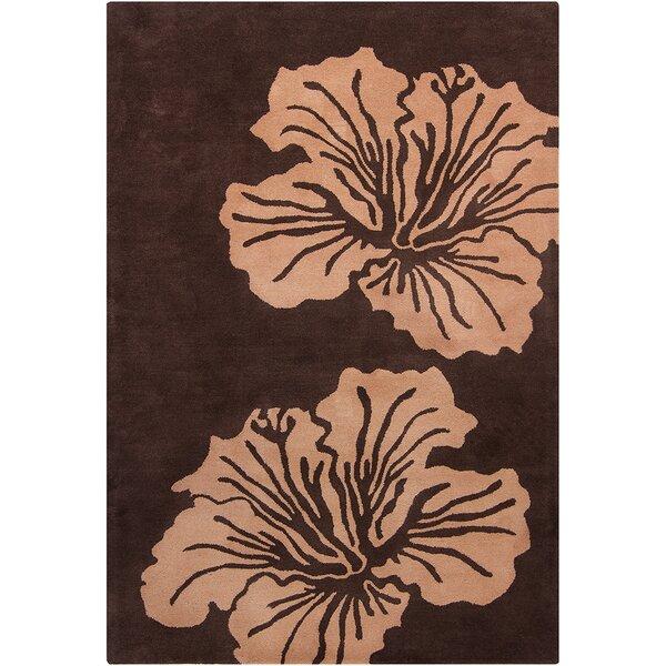 Oritz Hand Tufted Wool Light Brown/Dark Brown Area Rug by Brayden Studio