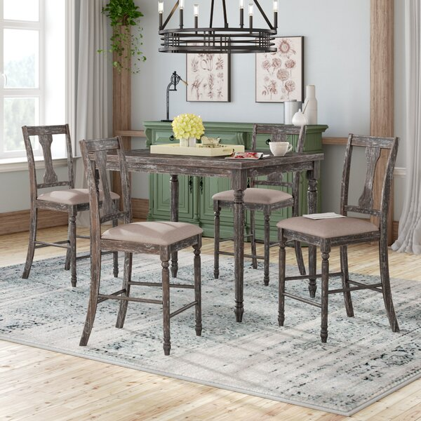 Dunwoody 5 Piece Counter Height Pub Table Set by Three Posts