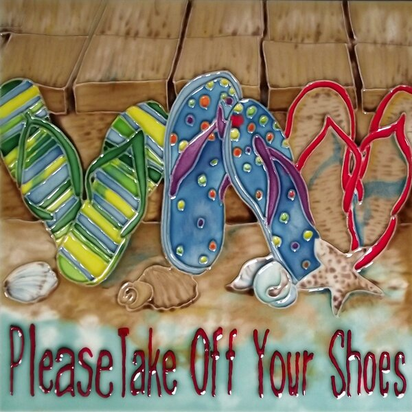 Take Off Your Shoes Tile Wall Decor by Continental Art Center