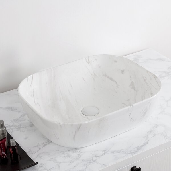 Isabella Plus Vitreous China Rectangular Vessel Bathroom Sink by Whitehaus Collection