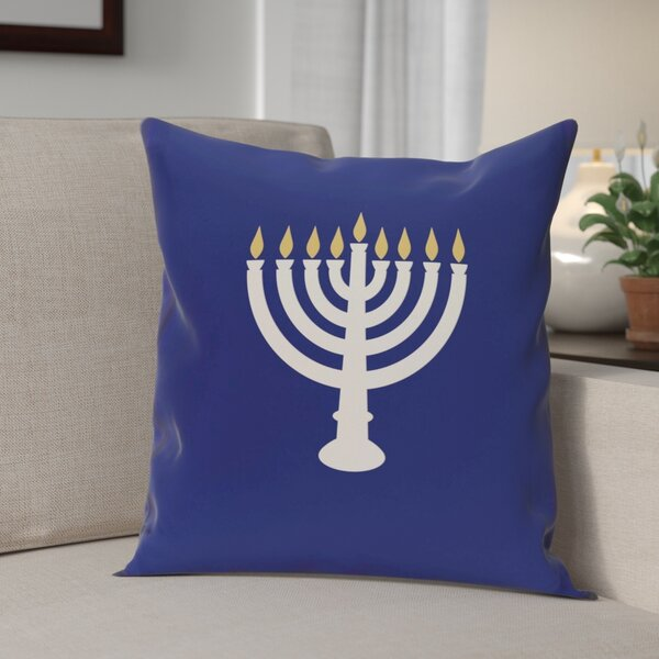 Holiday Geometric Print Light The Menorah Throw Pillow by The Holiday Aisle