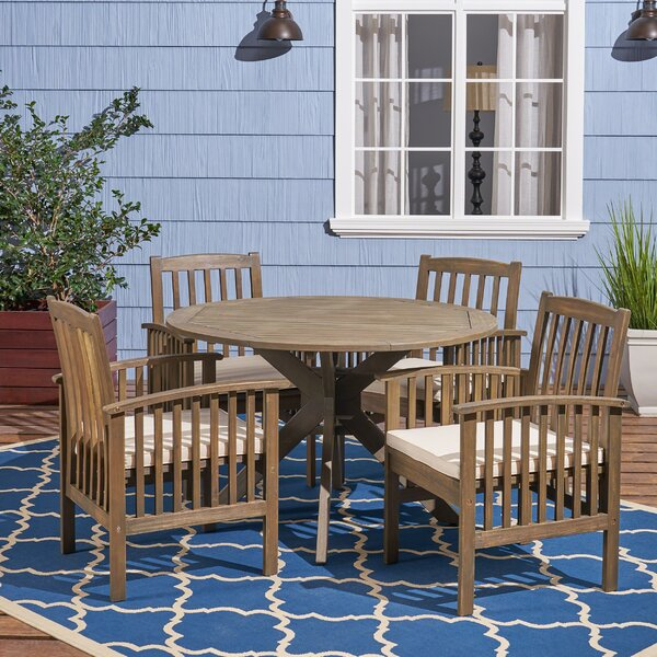 Restivo 5 Piece Dining Set with Cushions by Breakwater Bay Breakwater Bay