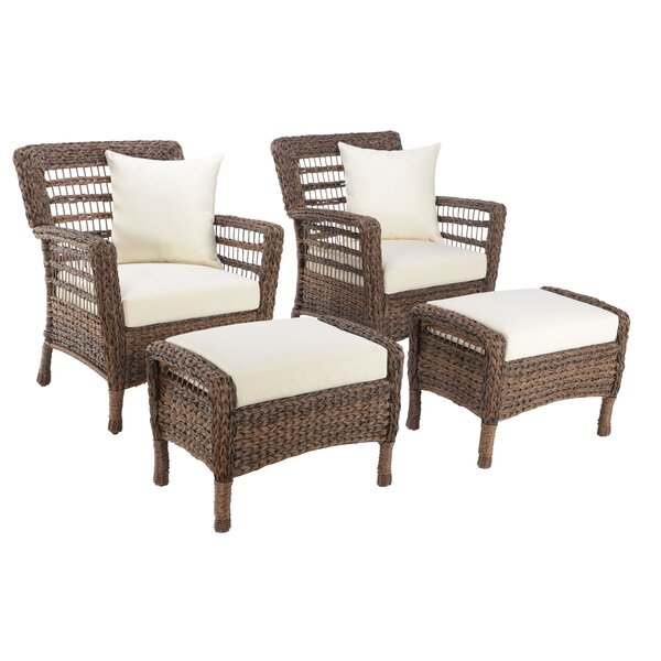 Boyles 4 Piece Patio Chair Set with Cushions by Rosecliff Heights