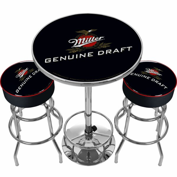 Ultimate Miller Genuine Draft 3 Piece Pub Table Set by Trademark Global