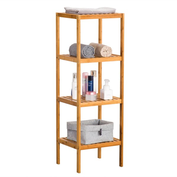 Lundon 14.57 W x 43.31 H x 13 D Solid Wood Free-Standing Bathroom Shelves