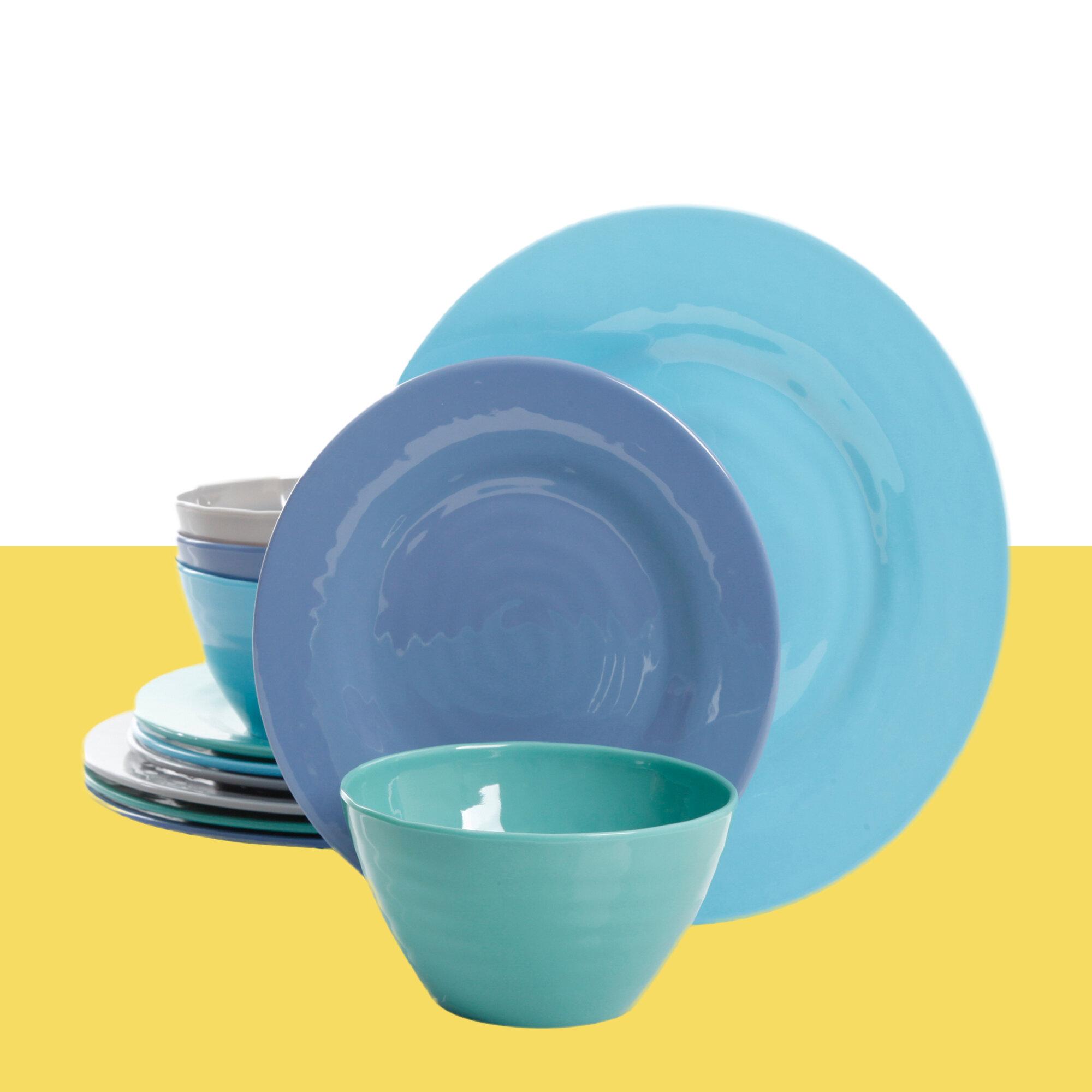 """Set of  4 Aqua Blue Crackle melamine Serving Salad Bowl Plates 9/"""" Real Simple"""