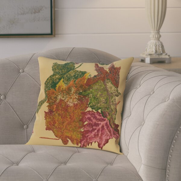 Maillett Autumn Leaves Flower Print  OutdoorThrow Pillow by August Grove