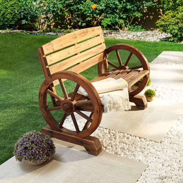 Keyshawn Wagon Wheel Wooden Garden Bench by Rosalind Wheeler Rosalind Wheeler
