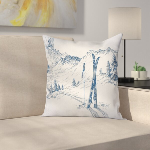 Winter Ski Sport Mountain View Square Pillow Cover by East Urban Home