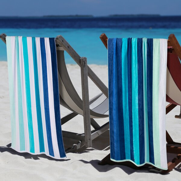 Makenna Coastal Blues 2 Piece Egyption Quality Cotton Beach Towel Set by Breakwater Bay
